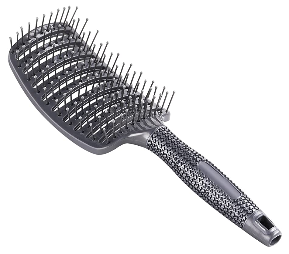 Curved Vent Brush, Barber Blow Drying Brush with Nylon Detangling Pins, Anti-Static - Grey