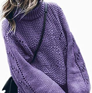 Winter Knitted Women's Sweater Pullover Solid Lantern Sleeve Crochet Women's Sweater Purple