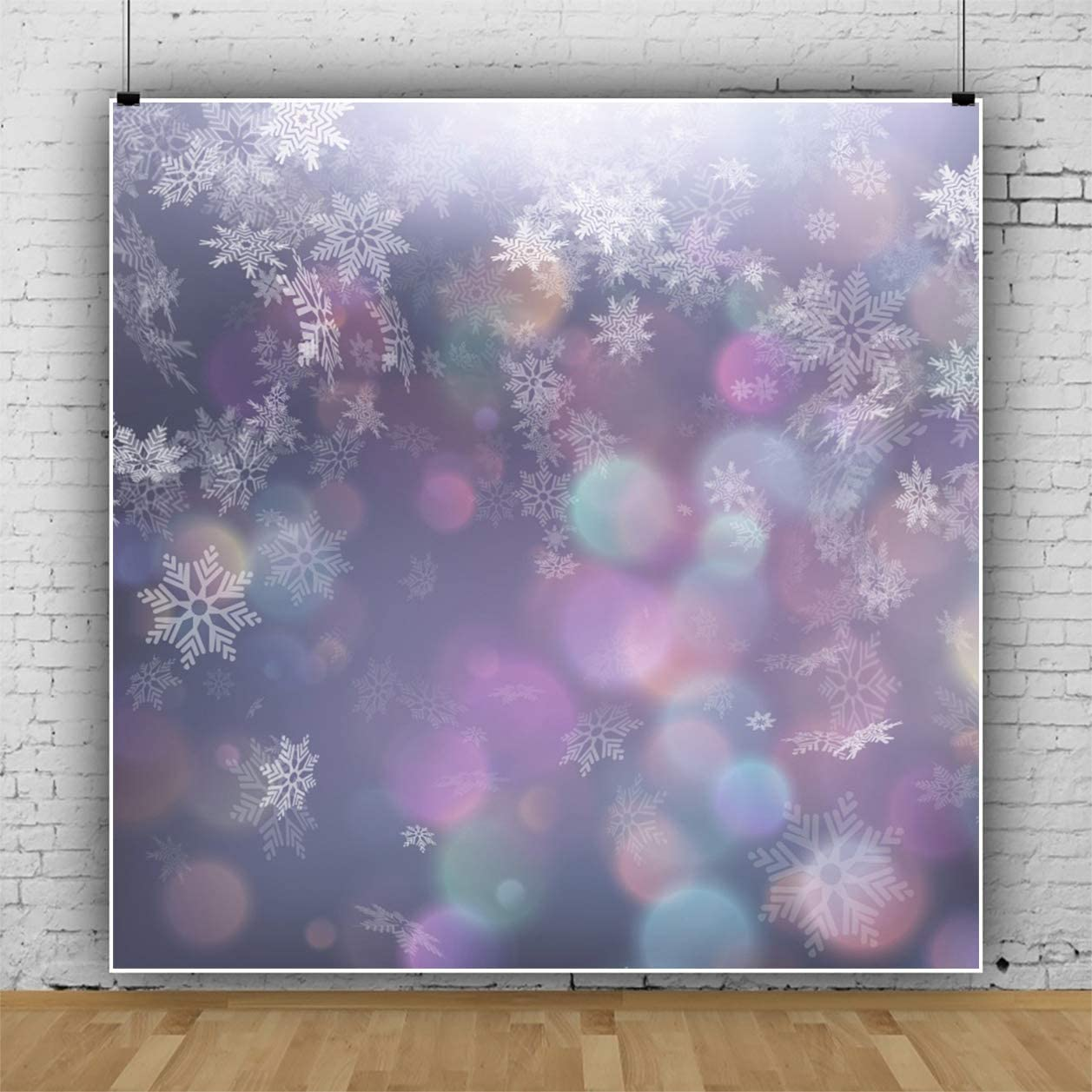 Haoyiyi 4x4ft Winter Wonderland Backdrop Snowflake Bokeh Glitter Dots Vintage Background Photography Photo Pets Network Anchor Channel Video Birthday New Year Wedding Photoshoot Supplies