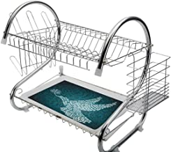 Stainless Steel 2-Tier Dish Drainer Rack War Kitchen Drying Drip Tray Cutlery Holder Dove Symbol of Peace Words over Stop the War Warfare Theme Abstract Art,Black White,Storage Space Saver