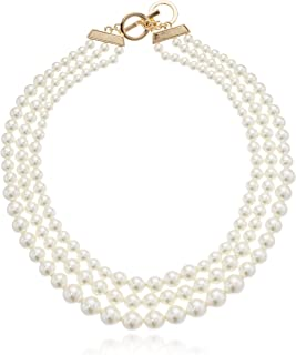 Women's Gold-Tone Blanc Pearl Collar Necklace, Gold/White, 0