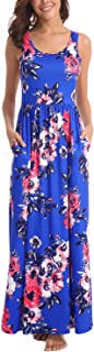 Women Floral Maxi Dresses Sleeveless Casual Summer Long Dress with Pockets