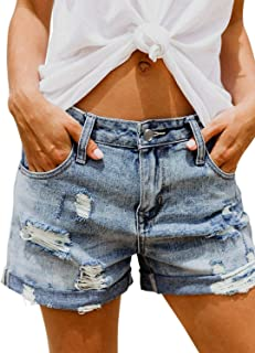 Women Casual Frayed Destroy Bermuda Denim Ripped Short Jeans