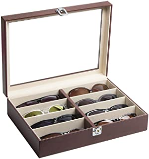 JackCubeDesign Leather 8 Compartments Eyeglass Display Organizer Eyeglasses Sunglass Storage Case Box Eyewear Tray Stand S...