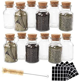 CUCUMI 12pcs 150ml Glass Spice Jars Reusable Glass Spice Bottles Glass Containers with Cork 100pcs Blank Square Stickers 1...