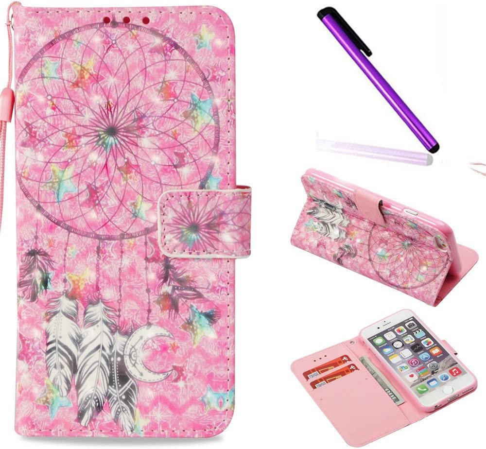 iPhone 6 Case iPhone 6S Case ISADENSER Glitter 3D Fancy Luxury Design Wallet with Card Holder Cash Slots Kickstand Shockproof PU Leather Folio Flip Case Cover for iPhone 6S 6 3D Pink Dreamcatcher YB