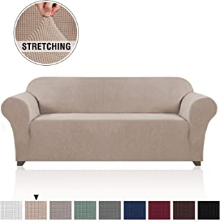 High Stretch Sofa Cover 1 Piece Machine Washable Stylish Furniture Cover/Protector with Spandex Jacquard Checked Pattern Fabric, Non Slip Furniture Slipcover (3 Seater Sofa, Sand)