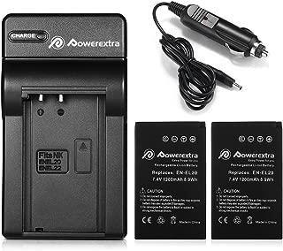 Powerextra 2X EN-EL20a Battery & Car Charger Compatible with Nikon Coolpix P1000, DL24-500, Nikon1 J1, J2, J3, Nikon1 S1, Nikon1 V3, Nikon Coolpix A, Nikon1 AW1, Blackmagic Pocket Cinema