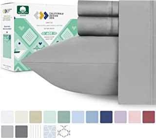 600 Thread Count 100% Pure Cotton Sheets - 4-Piece Light Grey Cal King Sheet Set Extra Long-staple Premium Cotton Yarns Hotel Quality Bed Sheets Fits Mattress 16'' Deep Pocket Soft Sateen Weave