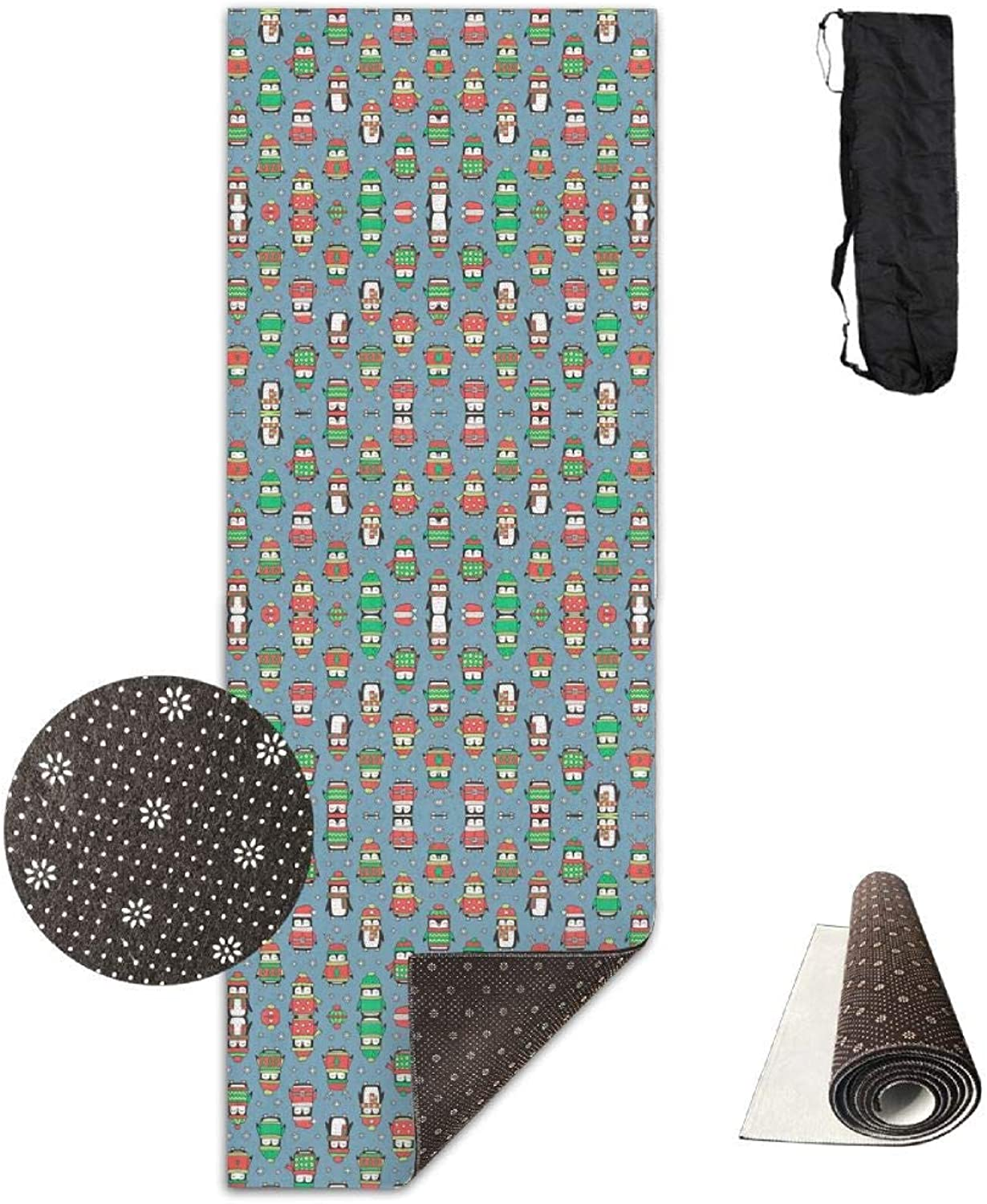 70Inch Long 28Inch Wide Comfort Velvet Yoga Mat, Christmas Holiday Winter Penguins in Ugly Sweaters(3726) Mat Carrying Strap & Bag