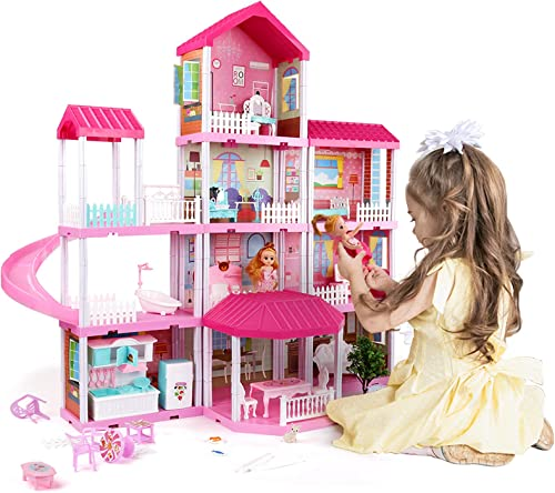 Doll House Dream House with Doll Toy Figures, Furniture and Accessories, 4-Story 11 Rooms Toddler Dollhouse Gift for Kids Ages 3+, Playhouse Toys for 3 4 5 6 7 Year Old Girls
