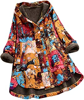 SEXYTOP Women Fur Terry Plush Lining Coat Winter Warm Vintage Floral Print Down Jacket Pockets Oversize Hooded Outwear