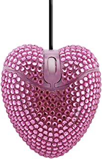 xiaoxioaguo Love Heart Shaped Computer Mouse Cute Wired USB Optical PC Portable Girl Diamond