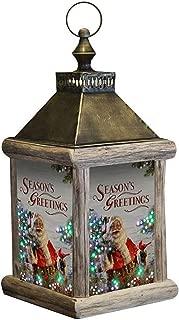 CC Home Furnishings Brown Winter Birch Santa Fiber Optic Large Lantern 7.5