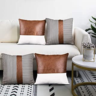 cygnus Decorative Throw Pillow Covers 18x18 Inch Faux Leather Stitching White Canvas and Black Stripe Pattern Modern Farmh...