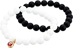 Black Agate and White Quartz Evil Eye Gemstone Bracelet Set