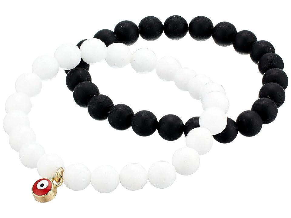 Dee Berkley - Dee Berkley Black Agate and White Quartz Evil Eye Gemstone Bracelet Set