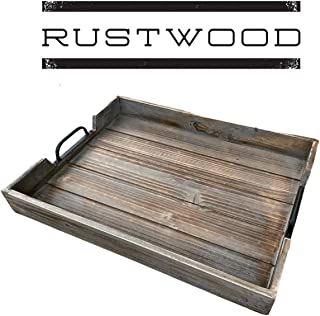 Rustic Wood Tray with Black Handles - Serving Tray & Coffee Table Tray - Ottoman Tray & Decorative Tray - Made with Pine W...