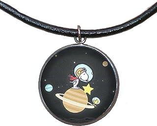 Ciondolo in acciaio inossidabile, 30mm, cordoncino di cuoio, fatto a mano, illustrazione Snoopy Astronauta