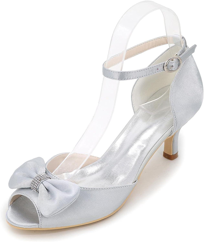 L@YC Women's Heels Spring Summer Fall Wedges Heels Round Toe Silk Wedding Party & Evening