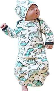 Newborn Baby Cartoon Dinosaur Sleep Gown Receiving Blankets Coming Home Outfit+Cap