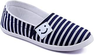 ASIAN Women's Blue & White Canvas Shoes -6 UK