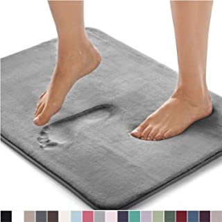 Gorilla Grip Original Thick Memory Foam Bath Rug, 30x20, Cushioned Soft Floor Mats, Absorbent Premium Bathroom Mat Rugs Rugs, Machine Washable, Luxury Plush Comfortable Carpet for Bath Room, Graphite