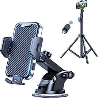 VICSEED 2021 Military-Grade Phone Holder for Car Dashboard Windshield Air Vent & VICSEED Universal 60'' Phone Tripod Stand with Bluetooth Remote Compatible with All Smartphones