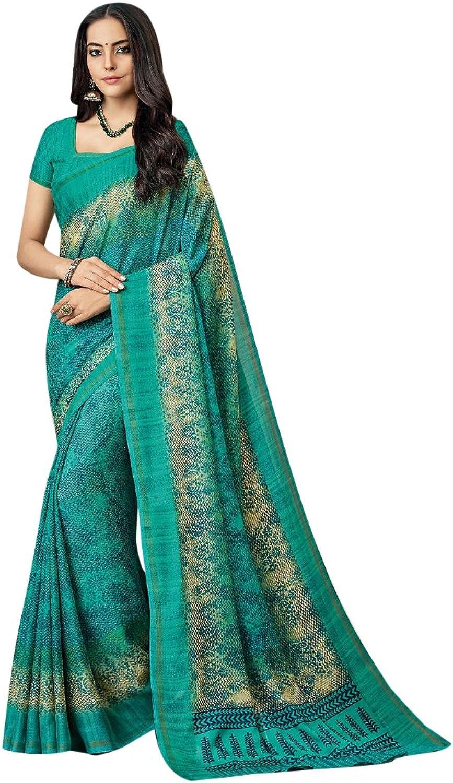 Designer Collection Of Cotton Printed Saree Blouse Formal Sari Women muslim Indian Eid 2813