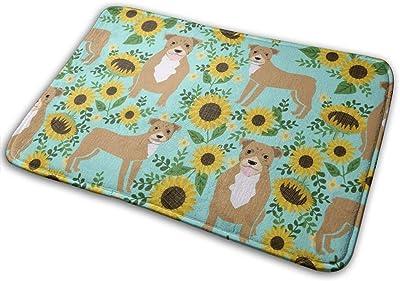 """Pitbull Sunflowers Floral Dog Breed Pitty Lover Green_18606 Doormat Entrance Mat Floor Mat Rug Indoor/Outdoor/Front Door/Bathroom Mats Rubber Non Slip 23.6"""" X 15.8"""""""