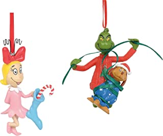 Department 56 Cindy Lou Who, Grinch and Max, How The Grinch Stole Christmas 2 Pc Ornament Bundle