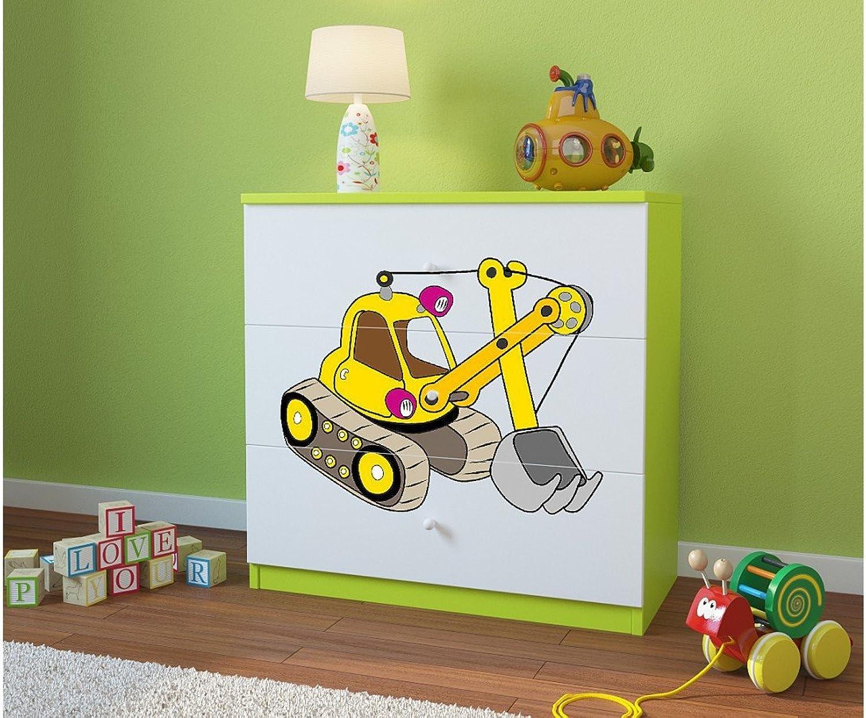 online al mejor precio CocheELLIA Cómoda Infantil Pelleteuse 3cajones Color Color Color verde Lima  ¡envío gratis!