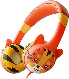 Kidrox Tiger-Ear Kids Headphones Boys/Girls - Wired Toddler Headphones for School, 85dB Volume Limited, Adjustable Headband, Tangle Free Cable, Cute Design, Small Orange Children Headphones On Ear
