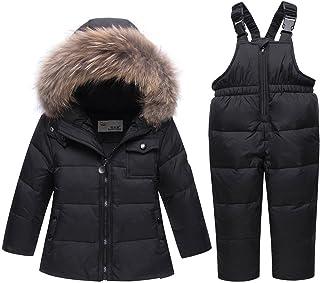 JELEUON Baby Girls and Boys Winter Warm Hooded Fur Trim Zipper Snowsuit Puffer Down Jacket with Snow Ski Bib Pants