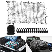 7' x 5' Heavy Duty Bungee Cord Cargo Net Stretches to 14' x 10'-Latex Truck Bed Mesh with 12Pcs Free Adjustable Hooks for Secure Carrying on Roof Luggage Rack,Cargo Carrier and Pickup Truck Bed
