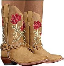 Dasongff Hoge dameslaarzen met hak lange laarzen dames sexy plat borduurwerk cowboylaarzen waterdicht retro cowboylaarzen ...