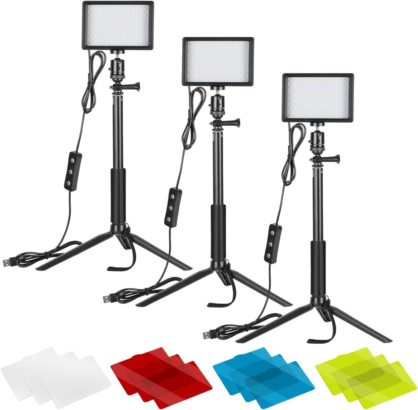 Neewer 3 Pack Portátil Kit de Iluminación Fotográfica Luz de Video LED Regulable 5600K USB 66 con Soporte de Trípode Ajustable Filtros Color para Mesa Grabación Productos Desde Ángulo Bajo Youtube