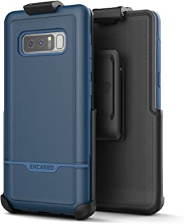 Encased Heavy Duty Belt Case for Samsung Galaxy Note 8 - Rugged Rebel Series Impact Armor with Holster Clip (Military Grade Drop Protection) Blue
