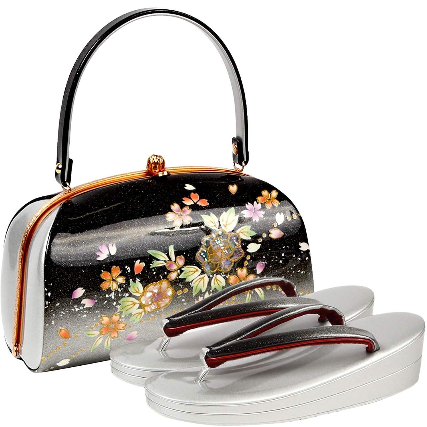 通行人本土八百屋[ノーブランド品] 草履バッグセット レディース Fサイズ 螺鈿 花柄 エナメル ゴールド N3263