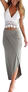 (Set de 2 Falda Verano con Top Camiseta Franja de Encaje Falda de Tubo Vestido Ropa Mujeres Casual Playa - Blanco y Gris - Talla S M L XL