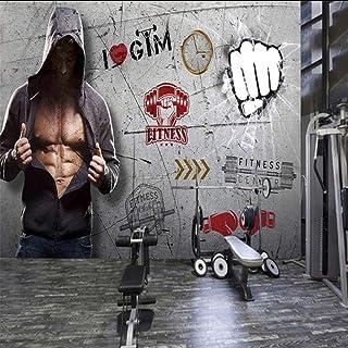 Wuyyii カスタム写真の壁紙レトロなノスタルジックスタイルのフィットネスの背景の壁の壁紙ヘルスクラブの装飾的なカスタム壁画-280X200Cm