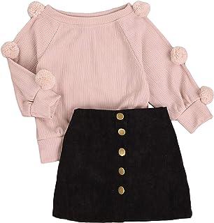 Carolilly 2 Pz Completo da Bambina Neonata con Manica Lunga Palla Maglione Lavorato a Maglia Bottoni Superiori Matita Gonn...