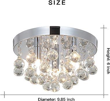 PUSU - Lámpara de techo de cristal con soporte G9 para pasillo, dormitorio, sala de estar, cocina, comedor