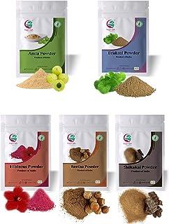 Yogi's Gift | Ayurvedic powders for hair growth combo | Organic hair mask | Amla, Reetha, Shikakai, Brahmi & Hibiscus (Eac...