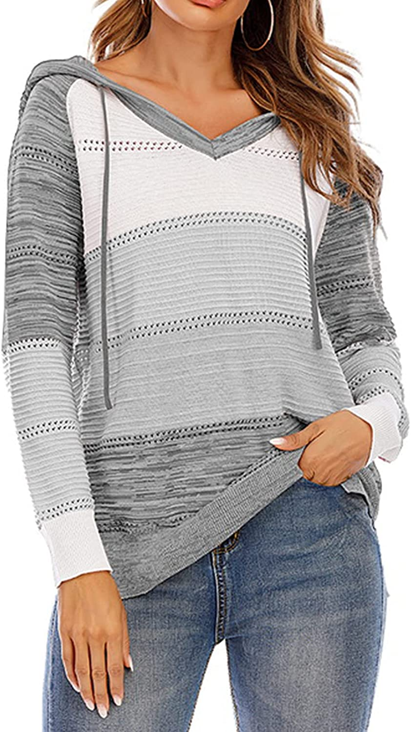 HIFUAR Women's Sweater Hooded V Neck Elasticity Striped Long Sleeve Loose Oversized Sexy Knit Pullover Jumper