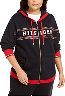 TOMMY HILFIGER Womens Black Hoodie,pockets Printed Zip Up Jacket AU Size:6