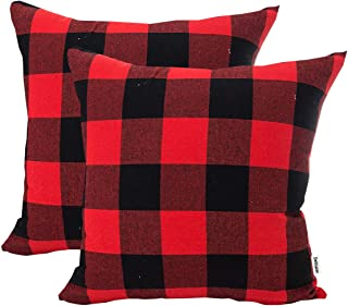 """Debispax Classic Plaids Cotton Linen Throw Pillow Covers 18 × 18 Inch, Polyester Cotton, Red and Black, 18""""x18"""" 2PCS"""