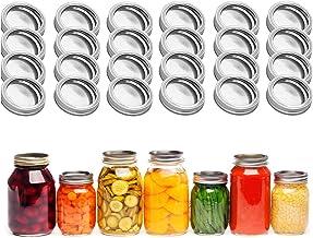Canning Lids Regular Mouth Mason Jar Lid Leak-proof Split-type Glass Jars Lids, Silver, 24 pcs…