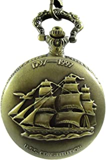SaiArtGallery Classic Vintage Retro Bronze Antique Finish Royal Ship Pocket Watch with Chain for Unisex (Pow-00181)