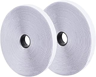 ONEST 82 Feet /25m White Self Adhesive Hook and Loop Tape Sticky Back Fastening Tape